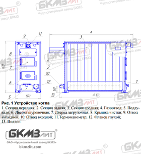 Чугунный твердотопливный котел КЧВр-70