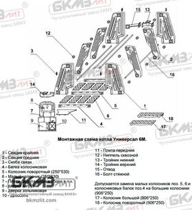 Чугунный котел Универсал 6М (18 средних секций)