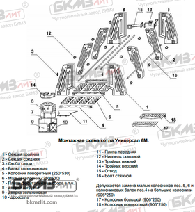 Чугунный котел Универсал 6М (14 средних секций)